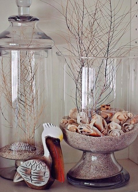 Clear Glass Hurricane Vase Beach Terrarium Idea