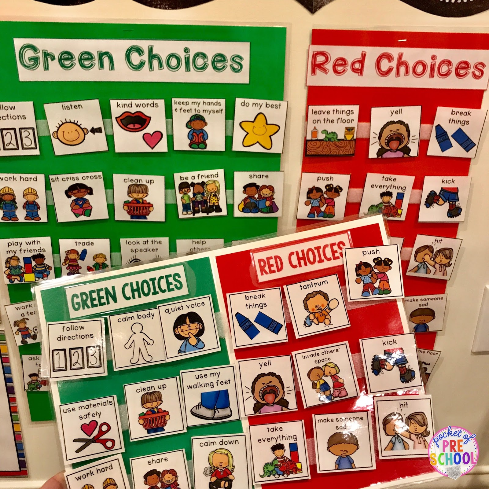 picture about Kindergarten Classroom Rules Printable titled Environmentally friendly and Pink Preference Board - Pocket of Preschool