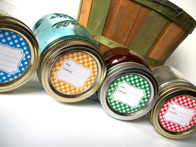 Classic Gingham Canning Jar Labels