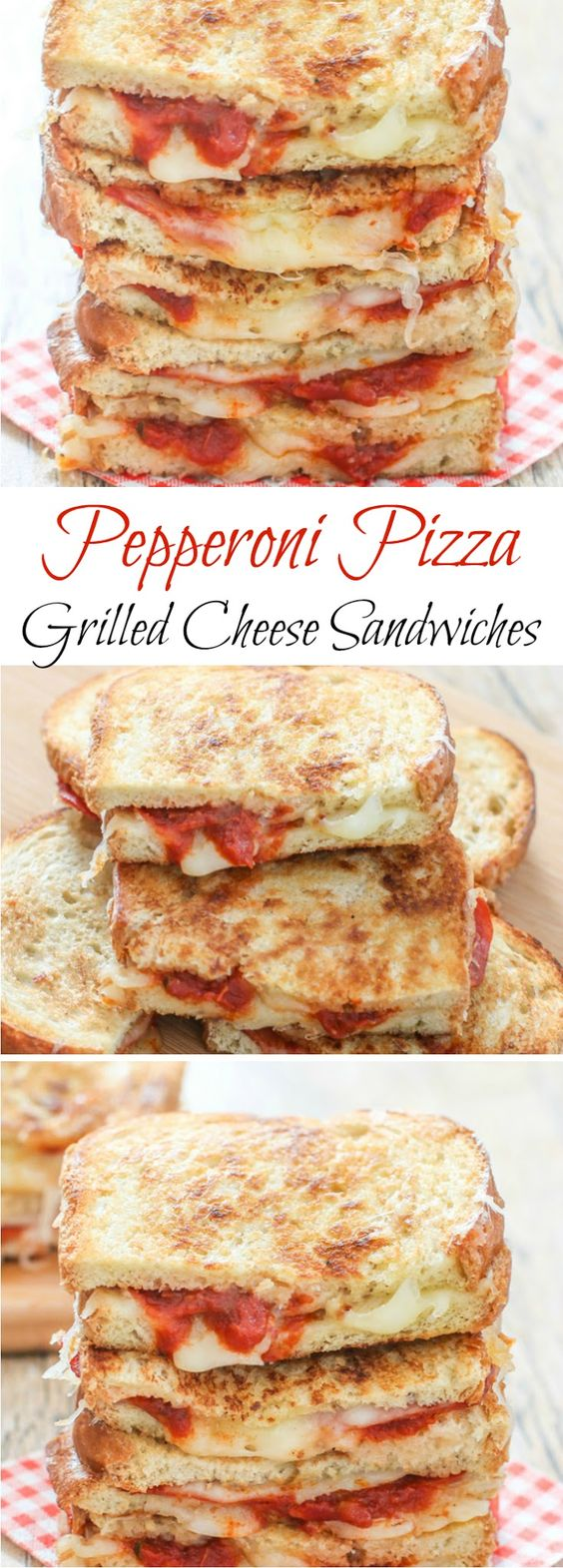Grilled cheese sandwiches are kicked up a notch with the addition of pepperoni slices, mozzarella cheese, and marinara sauce.