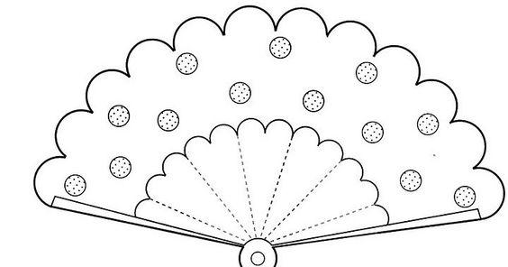 Tranh tô màu quạt giấy trang trí chấm tròn