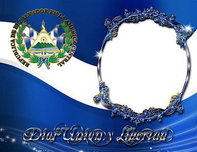 marco para fotos con la bandera bandera Salvadoreña