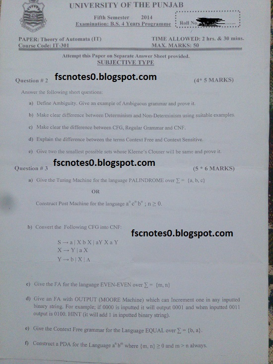 BS (Hons) IT Information Technology Past Papers Semester 5 Theory of Automata (IT) 2014 Asad Hussain