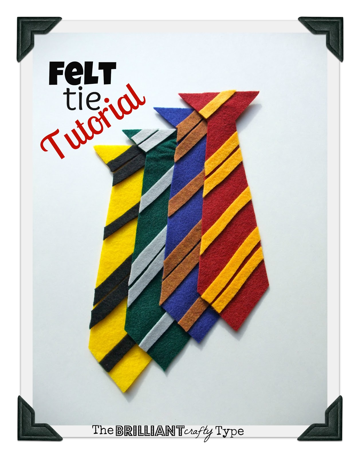 The brilliant crafty type felt hogwarts 39 ties tutorial for Harry potter tie template