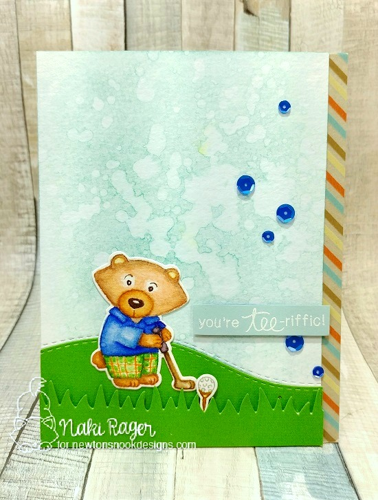 Golf Card by Naki Rager | Winston's Tee Time | Golfing Bear Stamp set by Newton's Nook Designs