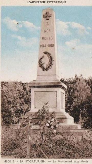 CPA monuments aux Morts du Puy-de-Dôme, Saint Saturnin