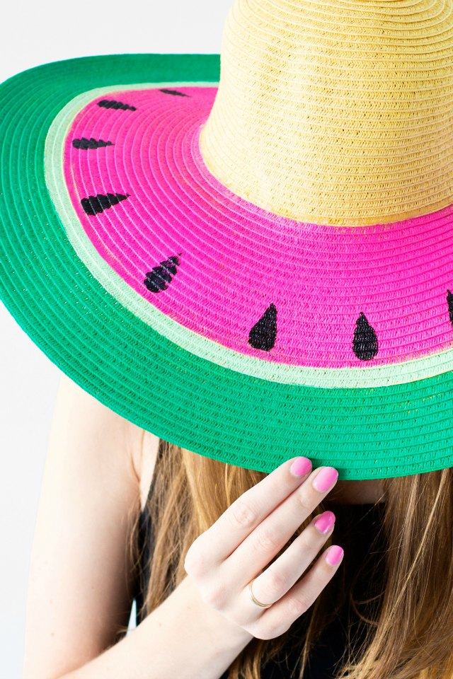 Watermelon painted floppy hat - so cute!