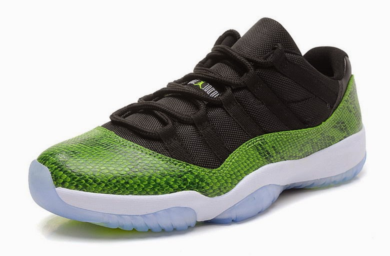 """sports shoes 04f7d abc5e Air Jordan 11 Low """"Green Snake"""" Color  Black Nightshade-White-Volt Ice  Style Code  528895-033. Release Date  04 19 14. Price   150"""