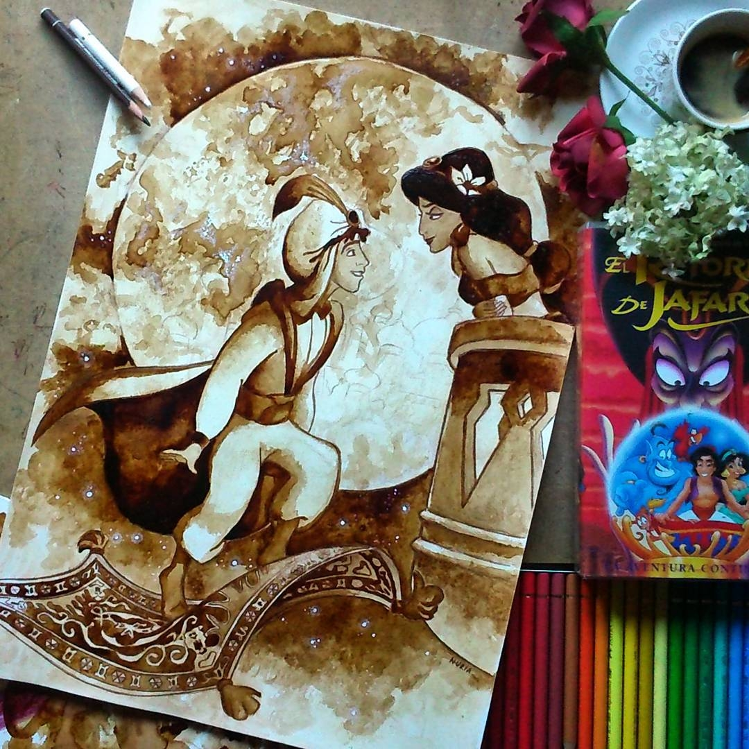 11-Jasmine-and-Aladdin-Disney-Nuria-Salcedo-nuriamarq-Celebrities-and-Animated-Movies-Painted-with-Coffee-and-Brown-Pencil-www-designstack-co