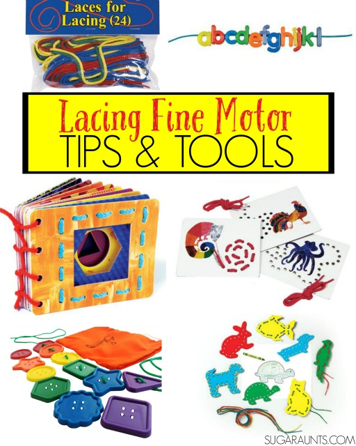 lacing gift guide and tips and tools on why lacing cards are awesome for fine motor skills. From an Occupational Therapist.