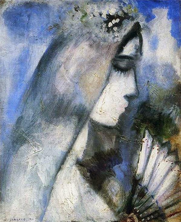 Noiva com um Vestido Azul - O Surrealismo glorioso de Marc Chagall
