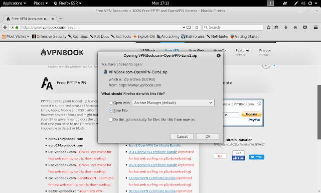 VPNBOOK, salvataggio file della VPN