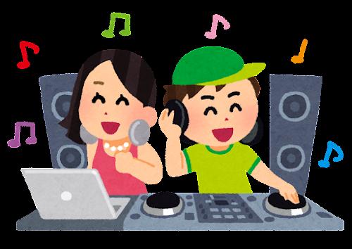 DJのイラスト(CD・二人)