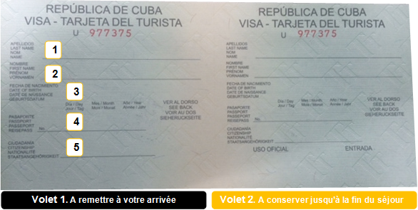 comment remplir carte touristique cuba