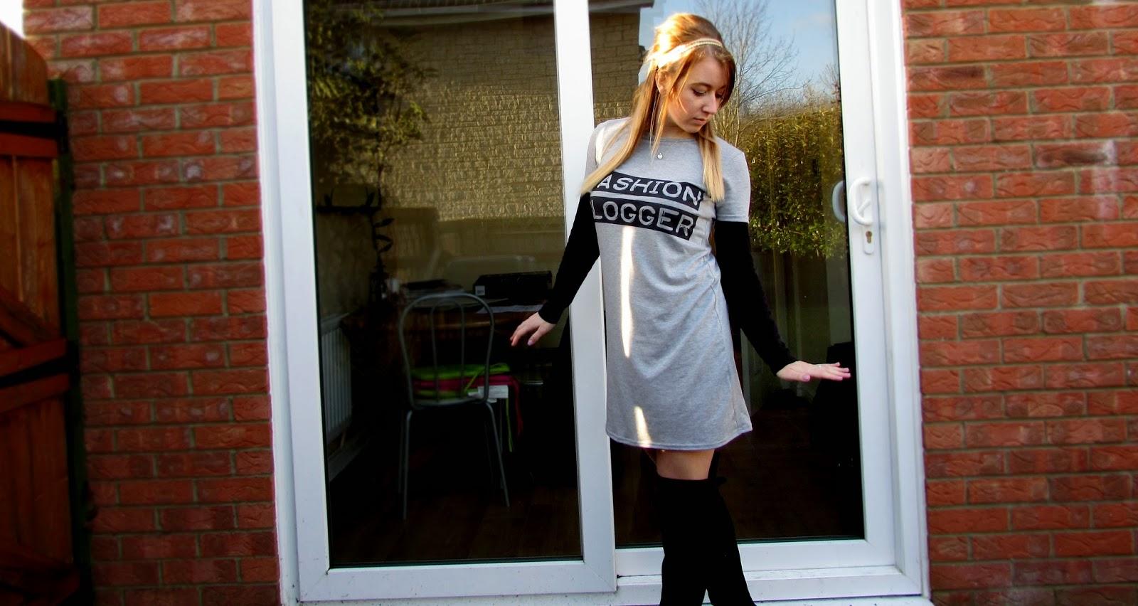 Fashion blogger slogan dress