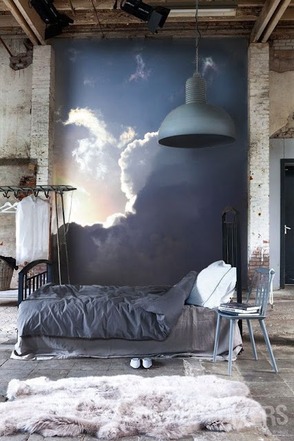 Sypialnia, ściana, wall, amazing, photo, Moon, Sky, Wallpaper, Mysterious, Mural, Art, Sky, Painting Effect, Navy, Nature, bedroom,inspration, scandinavian,
