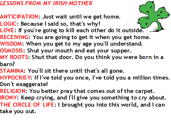 Irish Jokes and Humor for Mother's Day