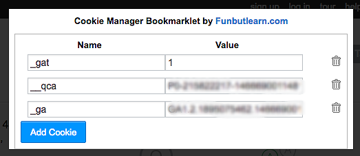 Cookie Manager Bookmarklet