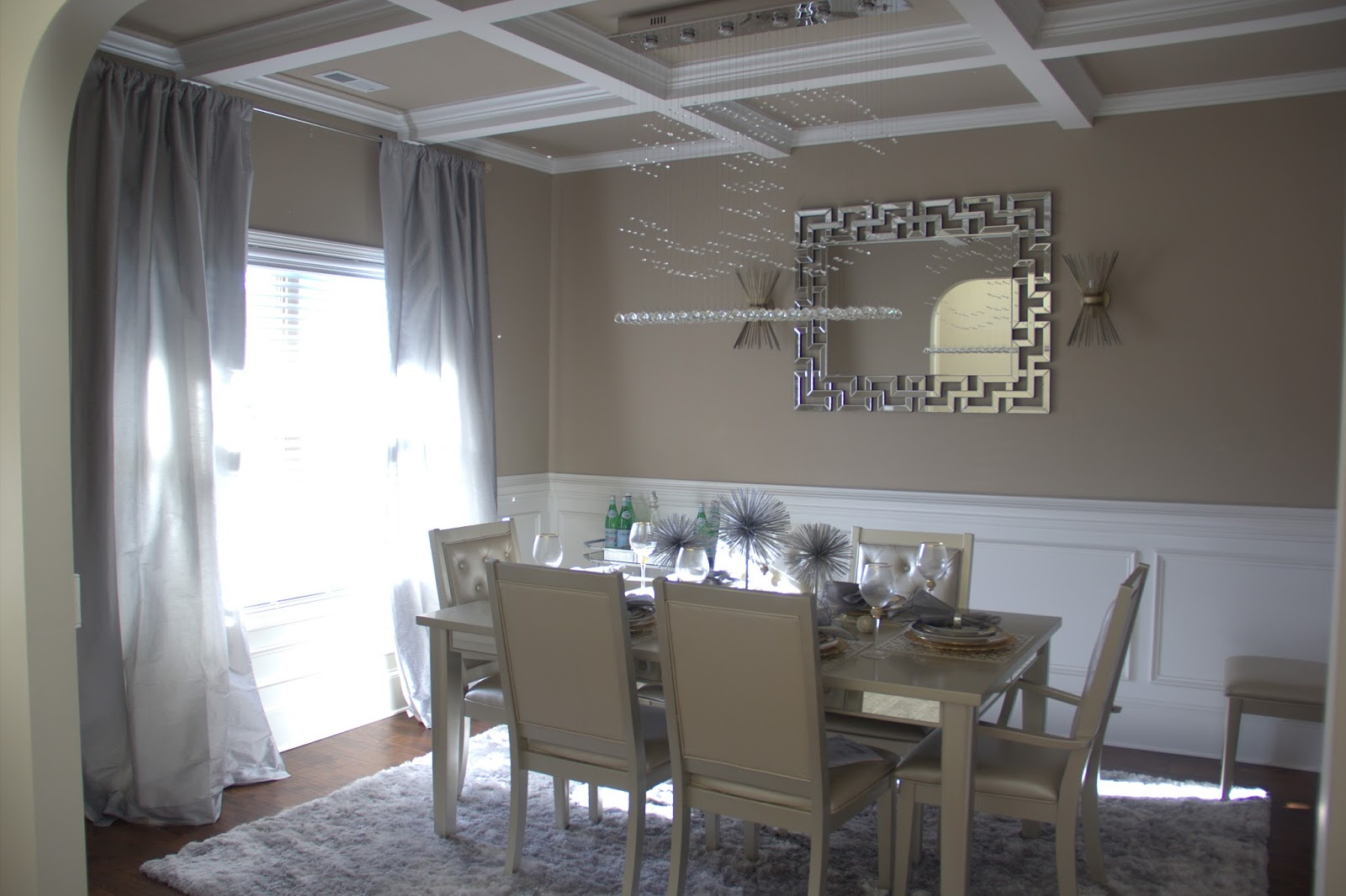 metallic mirrored dining room