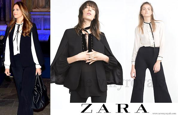 Princess Madeleine Wears ZARA Cape Jacket and Blouse