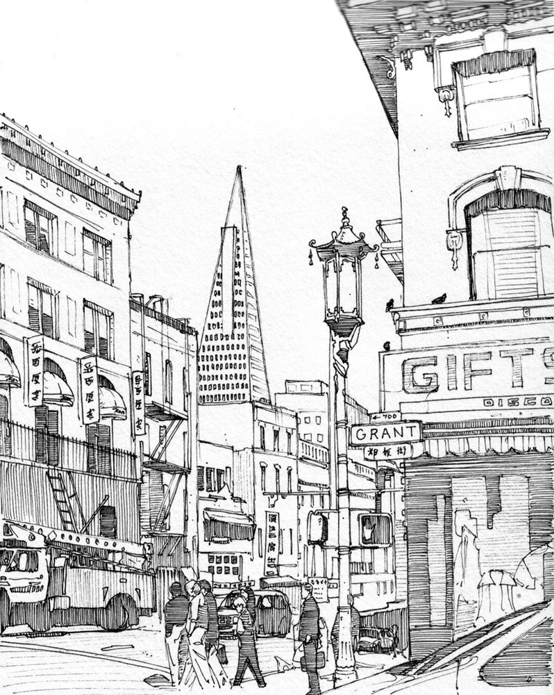 09-Grant-Avenue-San-Francisco-Tom-Hopkinson-Drawings-of-our-Lives-Depicted-in-Urban-Sketches-www-designstack-co