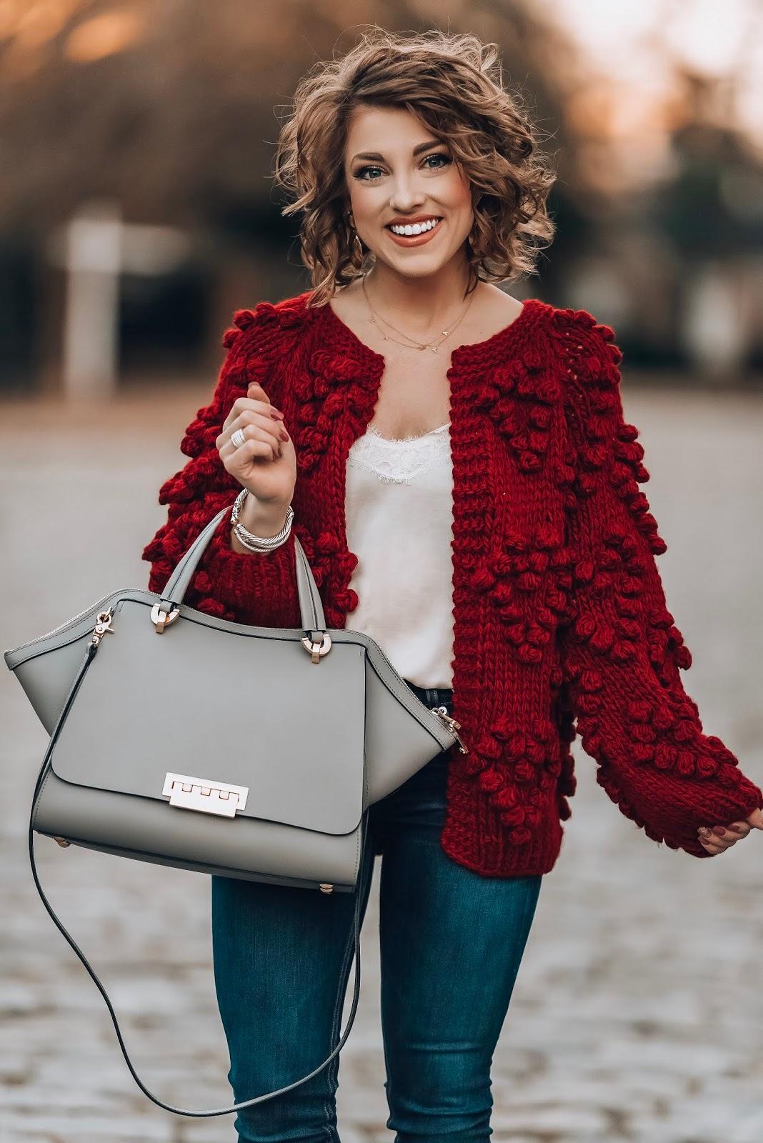 Burgundy Pom Pom Heart Cardigan - Something Delightful Blog