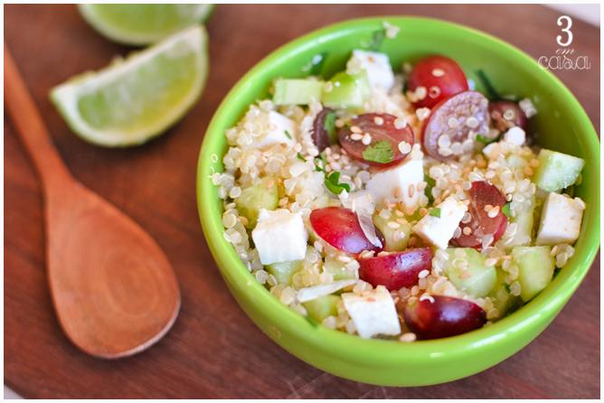 como fazer salada uva quinoa