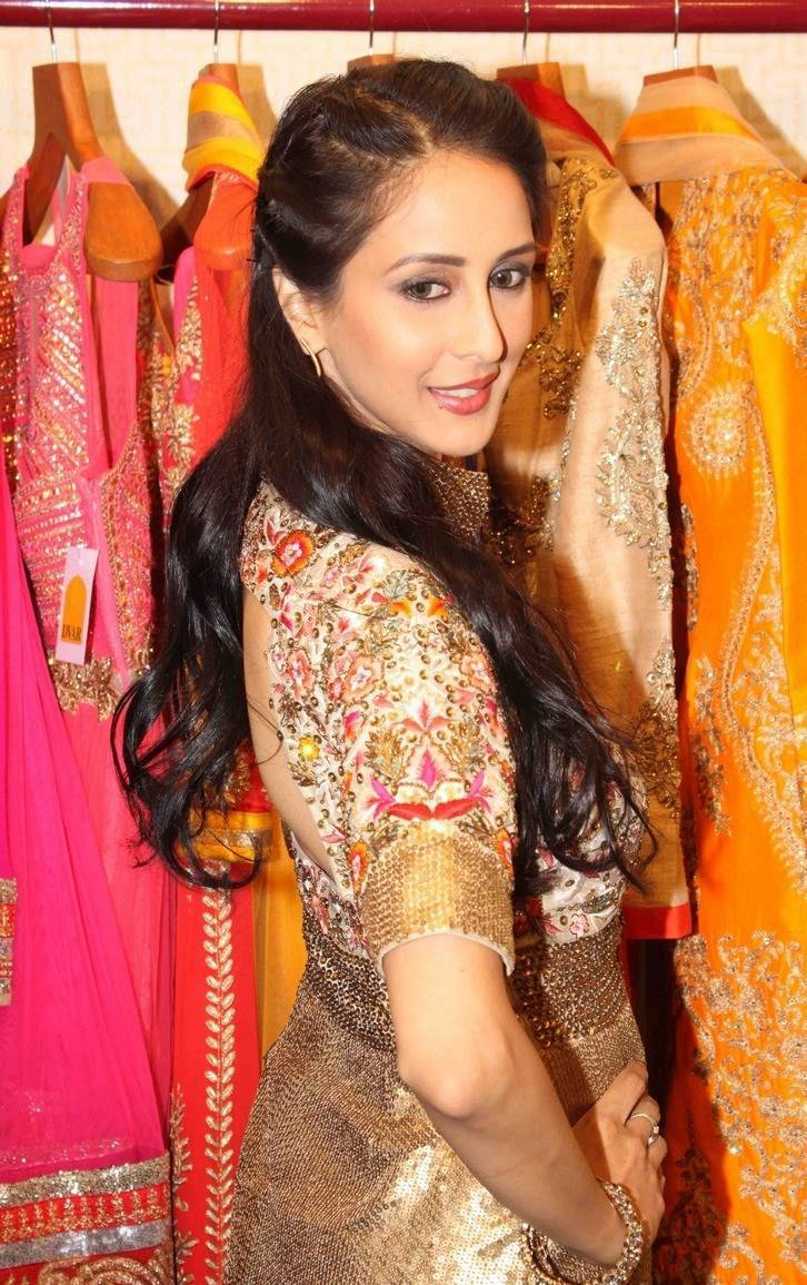 Tv Actress Long Hair Stills In Pink Dress Chahat Khanna