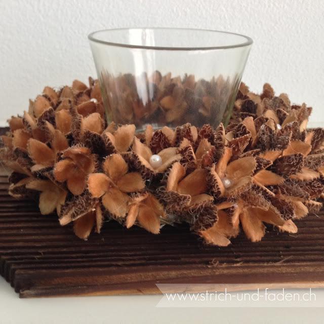 mit Strich und Faden: Buchenkranz mit Perlen |Herbstdeko |Windlicht