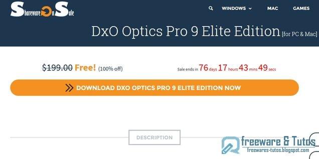 Offre promotionnelle : DxO Optics Pro 9 Elite de nouveau gratuit !