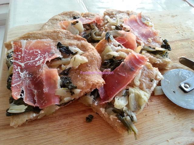 Pizza bietole e prosciutto