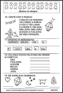 Avaliação português festa junina