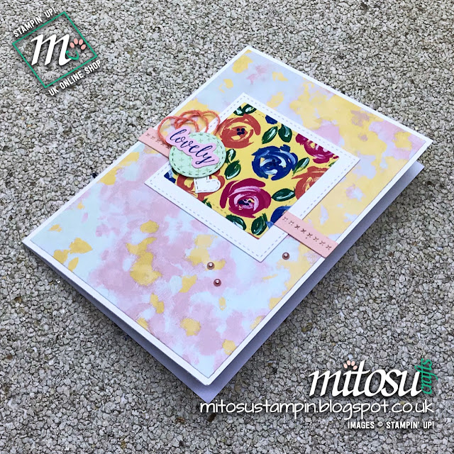 Stampin' Up! Stitched All Around Bundle & Garden Impressions DSP Card Idea, Order From Mitosu Crafts UK Online Shop
