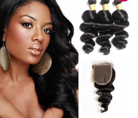 Virgin Loose Wavy Indian Hair 3 Bundles with Lace Closure –Price:$118.24