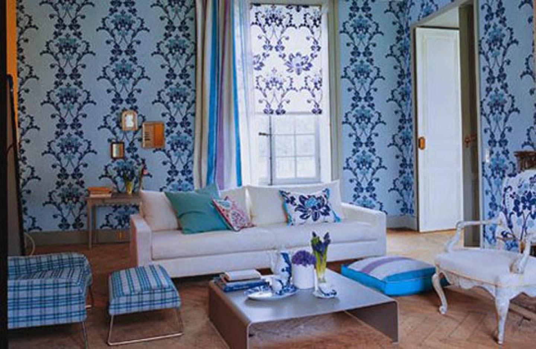 Wallpaper Ruang Tamu Biru