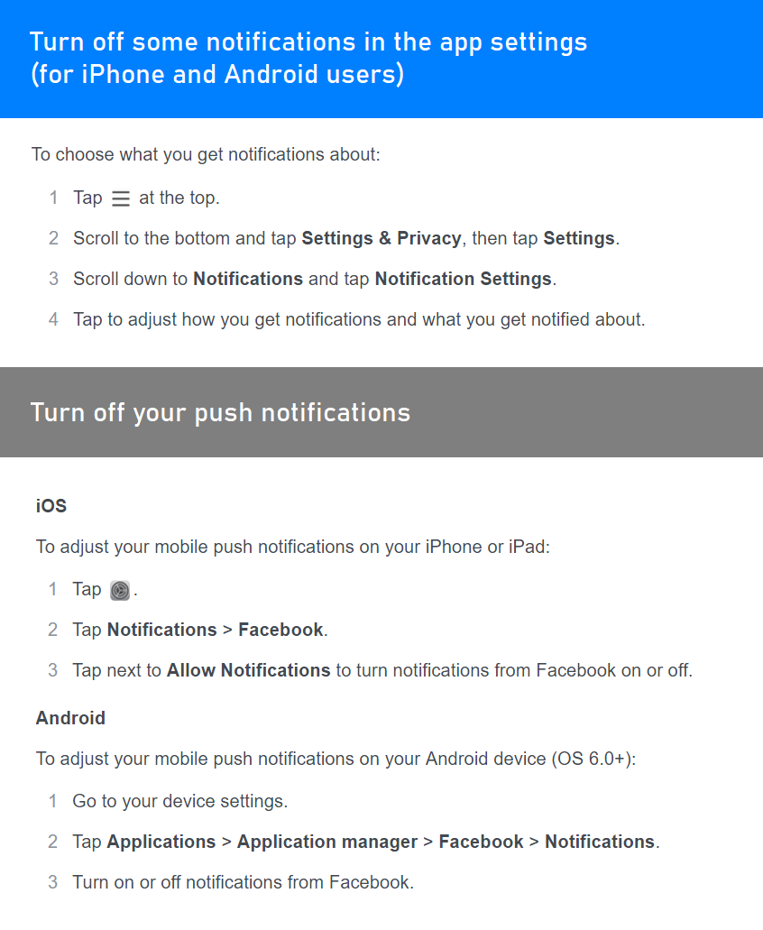 How to stop receiving unnecessary Facebook Push notifications (on Android, iOS and desktop devices)
