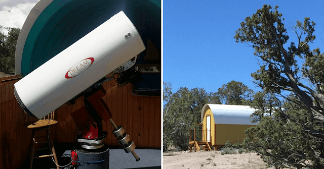 Gamma Pod (right) is the facility that houses the Astronomical Telescope for Educational Outreach (ATEO).