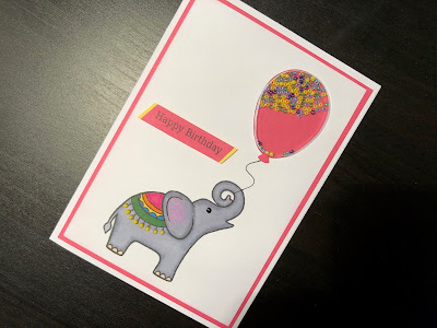Stamped elephant and balloon shaker hand made birthday card