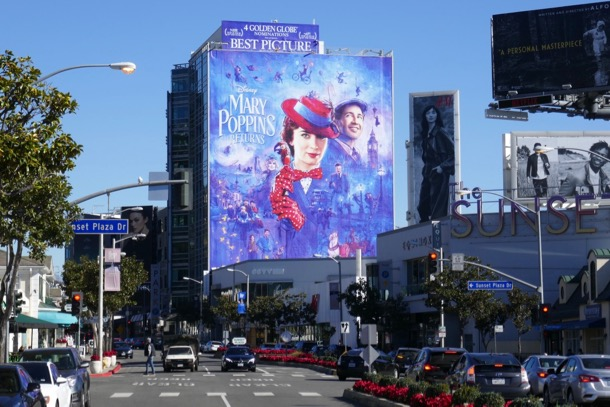 Mary Poppins Returns Golden Globe billboard