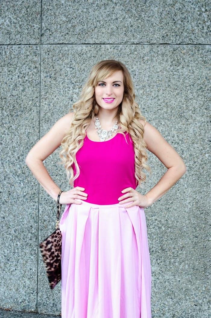 pink skirt pink top