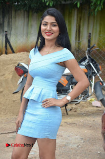 Actress Ankitha Jadhav Pictures in Blue Short Dress at Cottage Craft Mela 0008.jpg