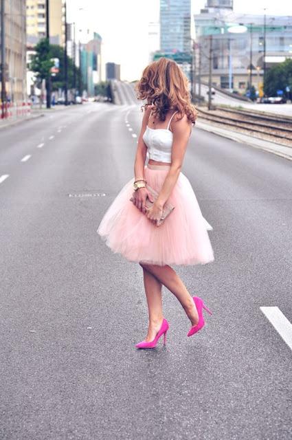falda tulle rosa corta