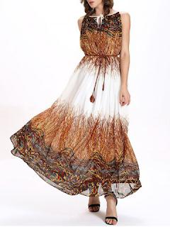 Keyhole Printed Chiffon Maxi Swing Dress