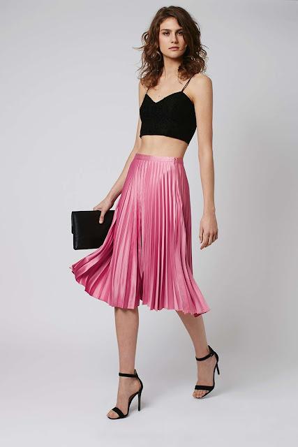 pink satin pleated midi skirt, pink satin pleated skirt, pink pleated midi skirt,