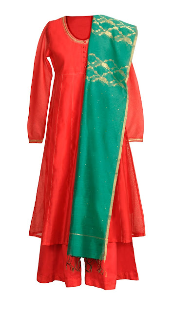 Kurta,Silk & Cotton Empire Line Kurta with zari detail MRP Rs. 2990, Chanderi Centre Jaal Dupatta MRP Rs. 2990