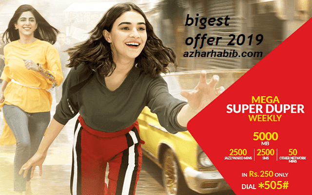 With Jazz Mega Super Duper Offer Gets 5GB internet  for a Week