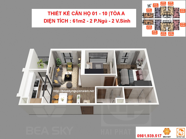 Thiết kế căn hộ 3D Bea Sky Nguyễn Xiển tòa A | Căn 01 - 10