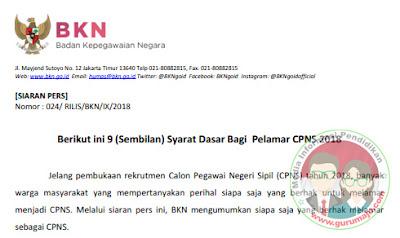 Syarat Pendaftaran CPNS 2018 Resmi dari Pemerintah (BKN)