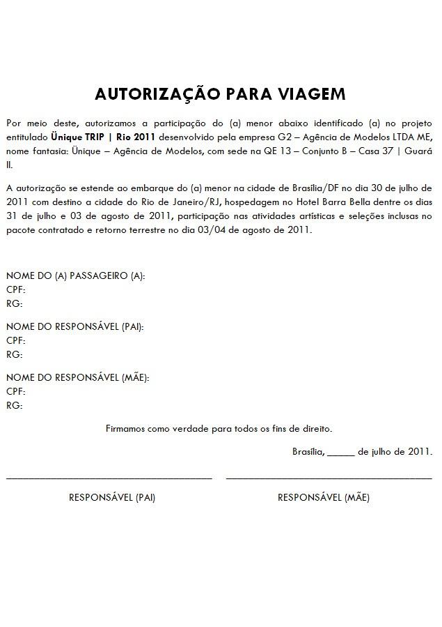 üniquetrip Rio 2011 Autorização Para A Viagem