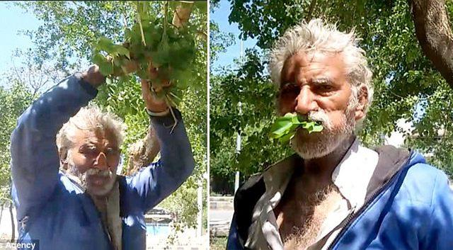 man eating leaves